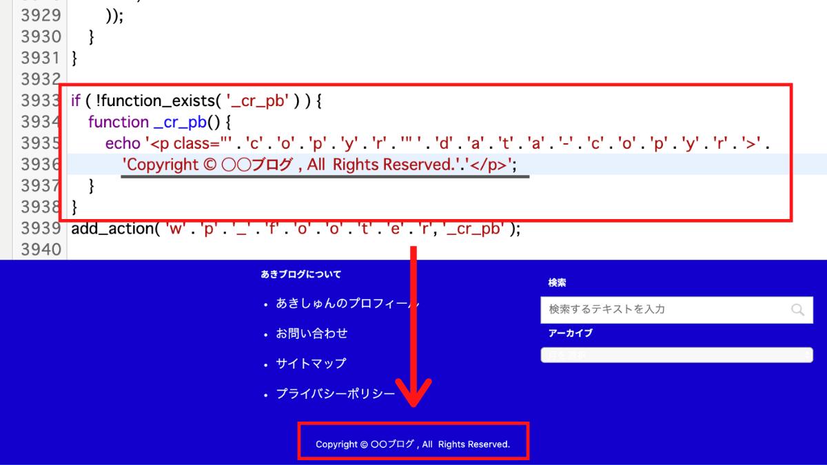 コピーライトCSS編集例1